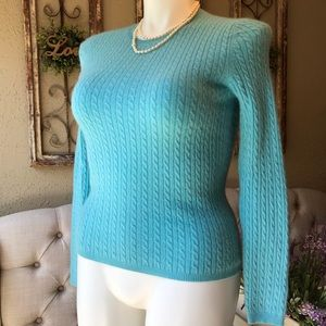 100% Cashmere Cable knit Sweater Anne Klein
